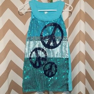 JUSTICE 12 Peace Sequin Sparkle Dress